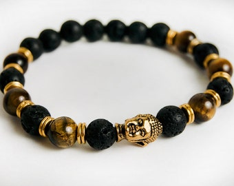 Genuine Tiger's Eye and Lava Buddha Bracelet