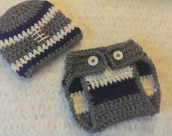 crochet newborn dallas cowboy inspired set