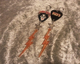 peter criss old school pick earrings reversible with lightning bolts
