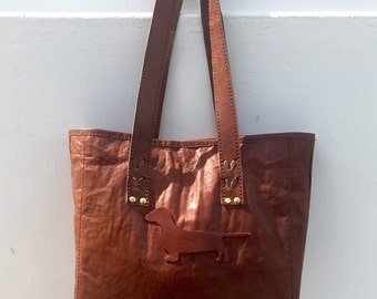 Dachshund leather shoulder bag 100% handmade for doxie lovers