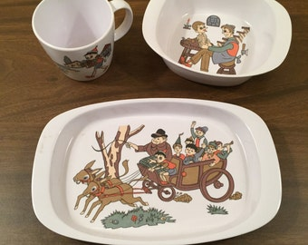 Noritake Melamine Child's Bowl, Plate, and Cup Pinocchio