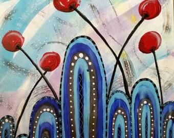 Cherry Bomb wall art ,industrial, acrylic painting, industrial, art, painting