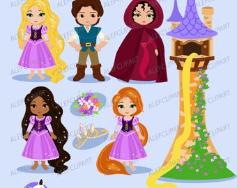 Princess Tower - Digital Clipart Set, Princess Clipart, Fairytale Clipart .