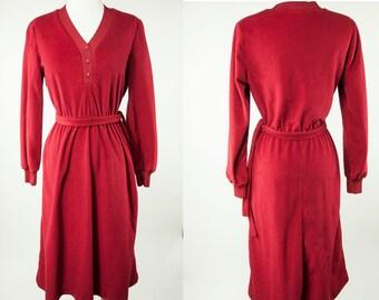 80s ~ Dark Red Secretary Dress