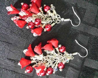 Deep red lucite flowers, pearls, and Czech crystal silver drop/ dangle earrings. Romantic handmade jewelry. FREE SHIPPING!