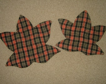 Candle Mats~Leaf Shaped~Orange/Black Multi Color-Set Of 2! On Clearance!