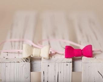 Pink Bow Trio // white and pink and fuchsia mini bows // headbands // felt