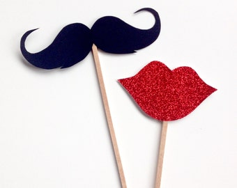 2 Piece Mustache and Glitter Red Lips Photo Booth Props