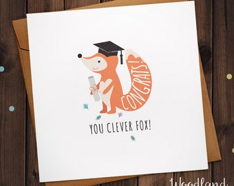 Graduation card, graduated card, Fox, well done, congratulations card, passed exams, you did it card