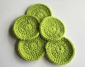Crochet Face Scrubbies, Green Face Rounds, Reusable Cotton Pads, Makeup Remover Pads