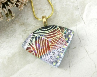 Dichroic Wedge Pendant Layered Glass Necklace - Fused Dichroic Glass Pendant