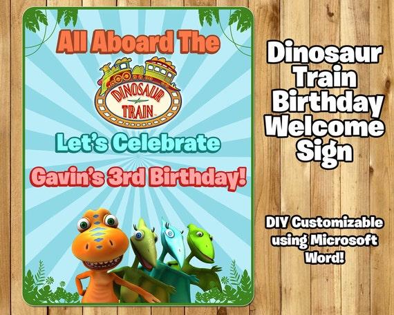 DIY Dinosaur Train Inspired Birthday Welcome Sign Editable in Microsoft Word Printable Dinosaur Train Birthday Welcome Sign