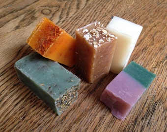Soap samples, natural handmade soaps, 5 soap bar samples, you choose the scents