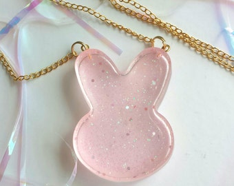 Pink Glitter Bunny Resin Necklace