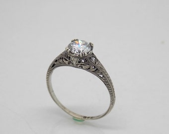 Retro Sterling  Silver 925 White Stone Engagement Ring