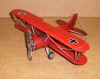 Vintage look WW I German bi-plane Red