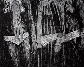 Woodblock print, (in)decência, original woodcut print