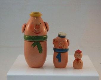 Vintage Pig Nesting Dolls