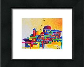 """Judaica art """"Jerusalem"""" Jewish home decor"""