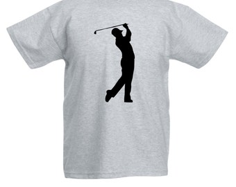 Kids Golf Player T-Shirt / Childrens Golfer T Shirt in Grey, Black, Blue, Pink, Yellow / Ages: 3-4, 5-6, 7-8, 9-11, 12-13