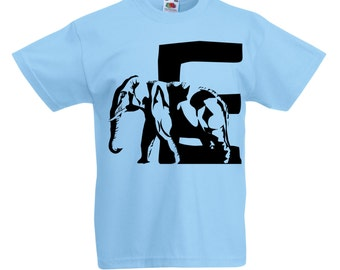 Kids E is for Elephant T-Shirt / Childrens Animal A-Z Alphabet T Shirt in Black, Grey, Pink, Yellow, Blue / Age: 3-4, 5-6, 7-8, 9-11, 12-13
