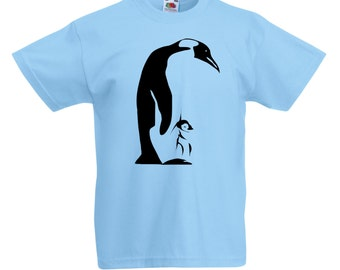 Childrens Penguin T-Shirt / Kids Boys Girls Blue T Shirt with Chick in Pink, Grey, Yellow, Orange / Ages: 3-4, 5-6, 7-8, 9-11, 12-13