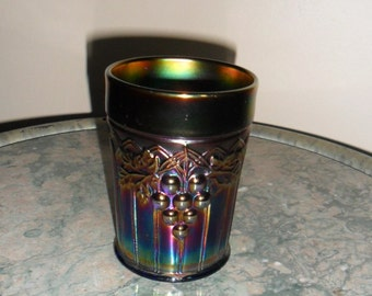 Carnival Glass Antique Vintage Northwood Blue ''GRAPE and GOTHIC ARCHES'' Tumbler - Collectible Glass - Vintage Art Glass (528)