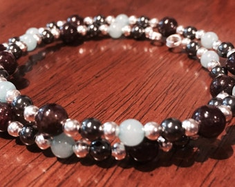 Handcrafted Garnet, Amazonite, Hematite & Sterling Silver Bracelet