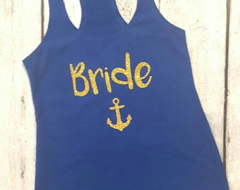 Blue and gold Bride Tank top Shirt - Bride Tank Top - Gold and navy Bride shirt -  Bride shirt