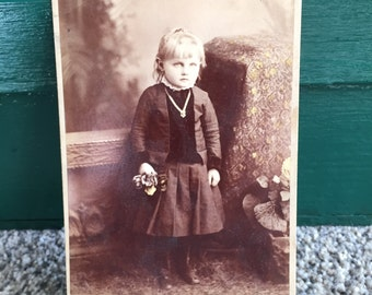 Vintage Portrait Photograph of Little Girl with Flowers