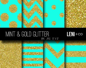 Digital Paper - Mint & Gold Glitter - Instant DOWNLOAD