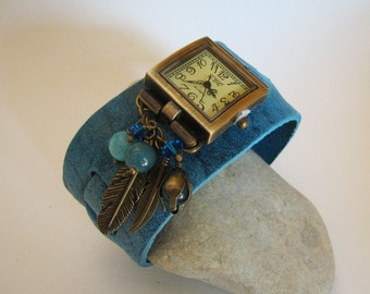 Wide cuff leather watch with square retro watch face and blue beads