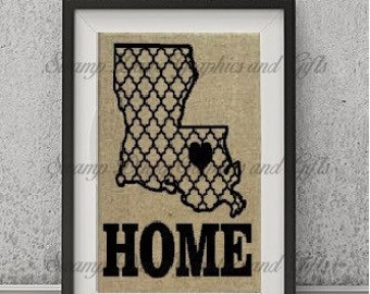Quatrefoil lousiana home printed burlap, home decor, housewarming gift, engagement gift, nola, New Orleans, shower gift, state, USA