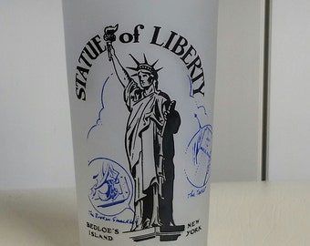 Vintage Hazel Atlas Statue of Liberty New York City Souvenir Glass Tumbler