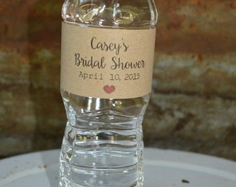 Bridal Shower Water Bottle Labels, Personalized Water Bottle Labels, Bridal Shower Favor, PDF, Printable