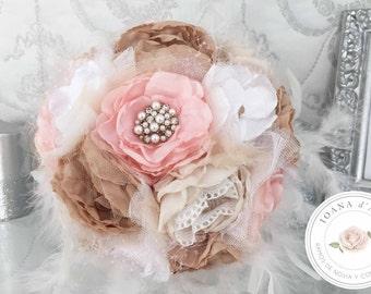 White feathers bridal brooch bouquet, Pastel peonies bouquet, custom bridal bouquet