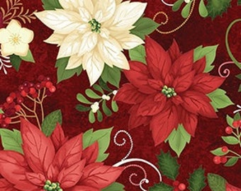Elegant Poinsettias on Deep Red - Christmas Holiday Winter by the Half Yard