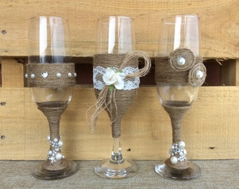 Rustic Wedding Glasses. Wedding Bride & Groom Glasses. Shabby Chic Wedding. Rustic Champagne Glasses. Toasting Glasses.