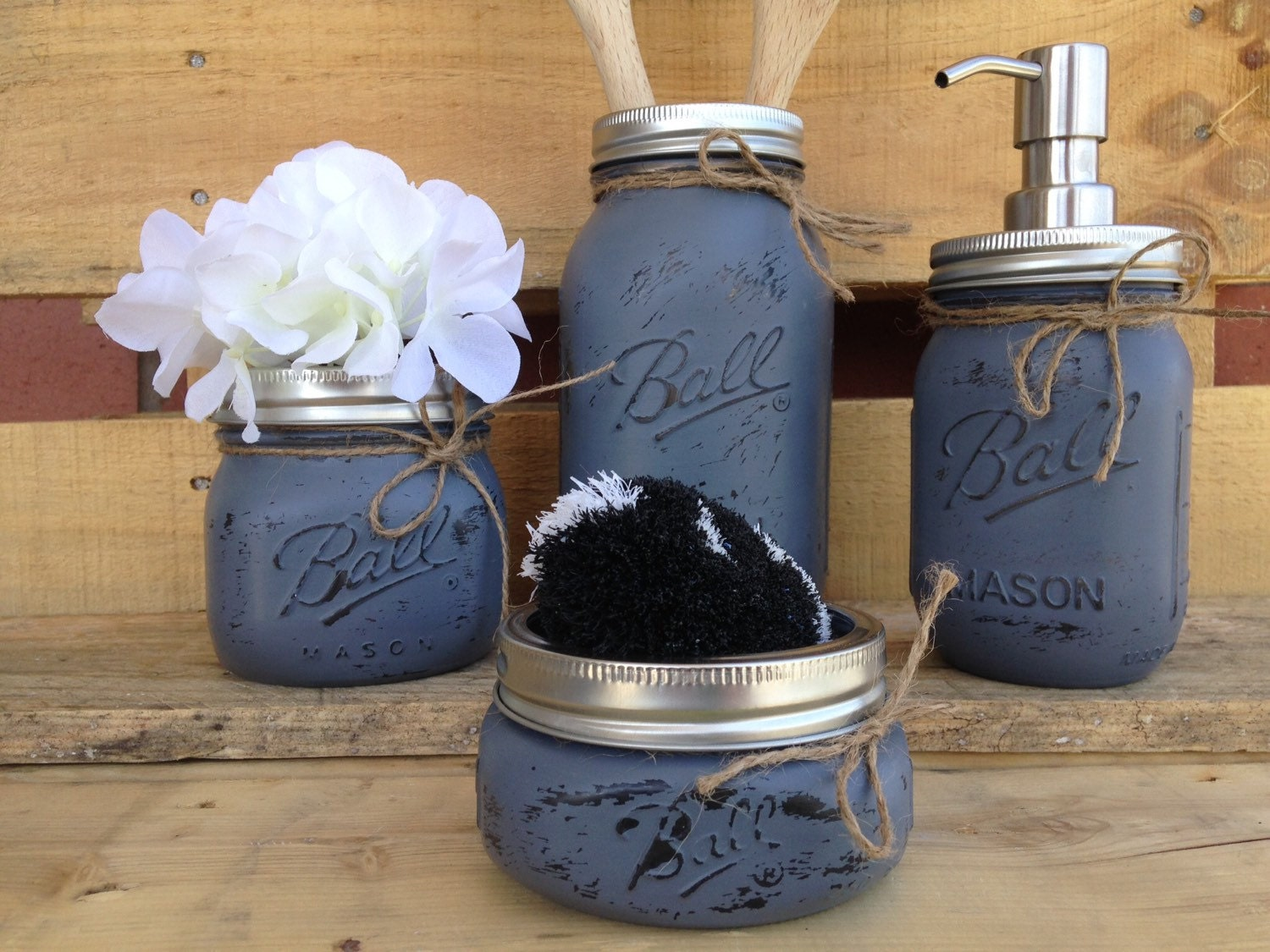 Painted mason jars mason jar kitchen set kitchin decor for Kitchen jar decoration
