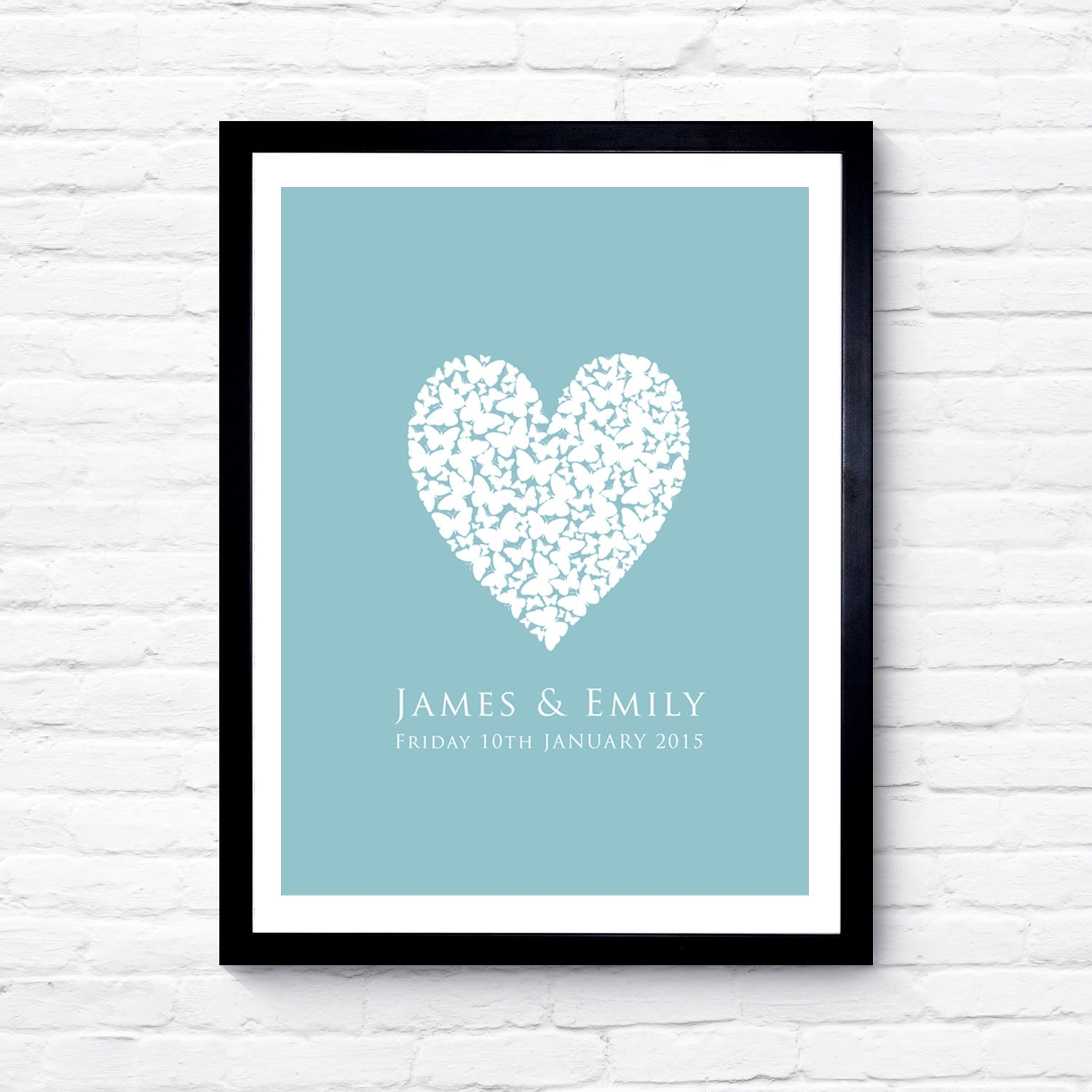 Minhou east wall home decoration manufacturer : Personalised butterfly heart print wedding gift