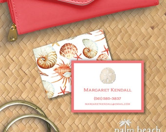 Sand Dollar Calling Cards - Seashell Personal Contact Cards - Personalized Mommy Cards - Beach Business Cards - Email Phone Card Set