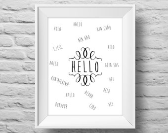 HELLO in 17 languages art print 8x10 Typographic poster, multilingual, wall decor, quote art. (R&R0005)