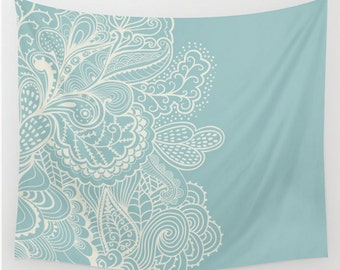 Wall Tapestry Mehndi Design Light Blue Off White  Boho Bohemian Shabby Chic Dorm Room Apartment Home Decor