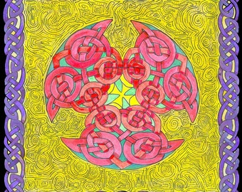 Celtic Art Irish Art Book of Durrow MandalaTrippy Art Psychadelic Art Knotwork Geometric