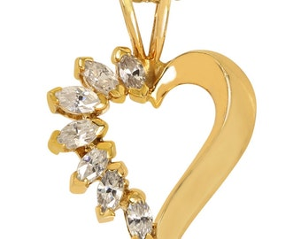 Heart Shape Pendant Set With CZ Marquise In Heavy Plated 14k Gold Heart Pendant
