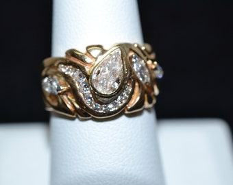 Unique 14K Yellow Gold Custom Pear Diamond Ring