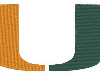 University of Miami Hurricanes Embroidery and Applique Design.  3 Hoop Sizes