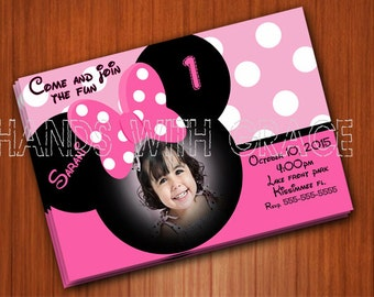 Printable Card Party Minnie Mouse personalized