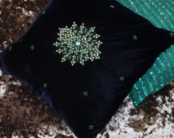 Decorative Velvet Cushions//Decorative throw Pillows // Blue Coronet by Sidreal Home