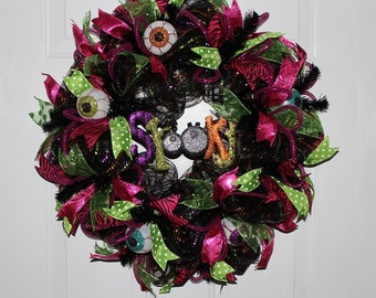 SALE LOVE15 Coupon Code, Whimsical Halloween Wreath, Black and Fuchsia with Eyeball accents.